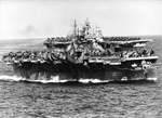 US Navy Task Group 38.3 entering Ulithi anchorage in a column following strikes in Philippine Islands, 24 Dec 1944, photo 3 of 7