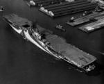 USS Ticonderoga at Norfolk, Virginia, United States, 30 May 1944; note camouflage Measure 33 Design 10A