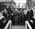 Group photograph of the launching party of submarine Trepang, Mare Island Naval Shipyard, California, United States, 23 Mar 1944; Commander Roy Davenport at center