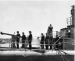 Admiral Edwards reading the Presidential Unit Citatition aboard submarine Tunny, 26 Apr 1946