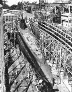 Stern view of the Tunny on the building ways at Mare Island Naval Shipyard, Vallejo, California, United States, 30 Jun 1942