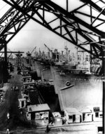 VC2-S-AP3 ships Lincoln Victory, Panama Victory, Joplin Victory, and Columbia Victory at a shipyard on the west coast of the United States, circa 1944