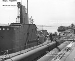 View of the conning tower of USS Wahoo, Mare Island Navy Yard, Vallejo, California, United States, 10 Aug 1942, photo 1 of 2