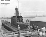 View of the conning tower of USS Wahoo, Mare Island Navy Yard, Vallejo, California, United States, 10 Aug 1942, photo 2 of 2