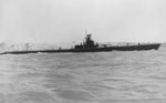 Starboard side view of USS Wahoo, Mare Island Navy Yard, Vallejo, California, United States, 14 Jul 1943, photo 2 of 3