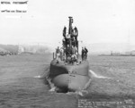 Stern view of USS Wahoo, Mare Island Navy Yard, Vallejo, California, United States, 14 Jul 1943