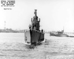Bow view of USS Wahoo, Mare Island Navy Yard, Vallejo, California, United States, 14 Jul 1943
