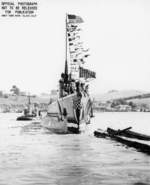 Submarine Wahoo shortly after launching, Mare Island Navy Yard, Vallejo, California, United States, 14 Feb 1942, photo 1 of 2