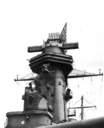 Close up view of the tower foremast of USS Washington, New York Navy Yard, New York, United States, 18 Aug 1942