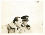 RAF Captain Henry Fancourt and US Navy Captain John Reeves aboard USS Wasp, Apr-May 1942, side 1 of photograph