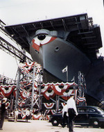 Launching ceremony of carrier Wasp, Bethlehem Steel Company shipyard, Quincy, Massachusetts, United States, 17 Aug 1943