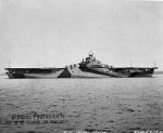 USS Wasp (Essex-class) after her shakedown cruise preparing to leave Boston, Massachusetts, United States, for the Panama Canal, 15 Mar 1944. Note Measure 33/10A camouflage. Photo 1 of 4