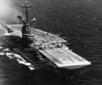 USS Wasp underway, circa early 1967; note S-2E Tracker aircraft of CVSG-52 squadron on flight deck