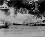 West Virginia aflame during Pearl Harbor attack, 7 Dec 1941