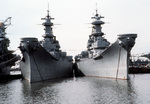 Inactivated US Navy battleships Iowa and Wisconsin docked at Philadelphia, Pennsylvania, United States, 26 Feb 1982