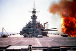 Battleship Wisconsin firing her turret no. 3 guns against Iraqi positions in southern Kuwait during Operation Desert Storm, 6 Feb 1991