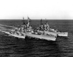 US Navy destroyer Buck, battleship Wisconsin, and heavy cruiser Saint Paul off Korea, 22 Feb 1952, photo 1 of 2