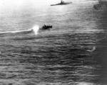 Yamato and a destroyer in action, 7 Apr 1945