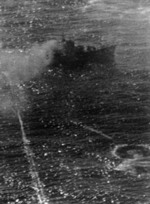 Yasoshima being attacked by US carrier aircraft west of Luzon, Philippine Islands, 25 Nov 1944, photo 1 of 3