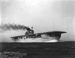 Yorktown making 17.5 knots astern during her preliminary standardization trials, run #41, off Rockland, Maine, United States, 12-21 July 1937