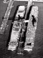 Carriers Enterprise (left) and Yorktown (right) under construction at Newport News, Virginia, United States, 8 Feb 1937
