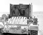 Valentine Bishop self-propelled gun in the Western Desert, Egypt, 25 Sep 1942, photo 3 of 3; note opened rear doors of the armored box