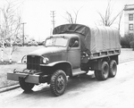 Factory photo of an early GMC CCKW 2 1/2-ton 6x6 closed cab long wheel base transport with winch, Pontiac, Michigan, United States, 1940-1942