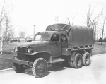 Factory photo of an early GMC CCKW 2 1/2-ton 6x6 closed cab short wheel base transport, Pontiac, Michigan, United States, 1940-1942