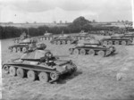 Cruiser Mk V Covenanter III tanks of Fife and Forfar Yeomanry, British 9th Armoured Division on parade at Guisborough, Yorkshire, England, United Kingdom, 19 Aug 1941