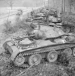 Covenanter tanks on the side of a road during Exercise Spartan, Britain, 6 Mar 1943