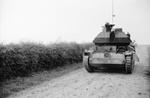 British Cruiser Mk IV tank with turret facing the rear, France, late May 1940