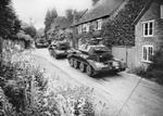 Cruiser Mk IV tanks of 5th Royal Tank Regiment of 3rd Armoured Brigade of British 1st Armoured Division in a village in Surrey County, England, United Kingdom, Jul 1940, photo 1 of 2