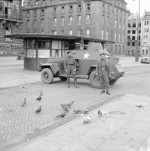The crew of a Humber Light Reconnaissance Car Mk III feeding pigeons in Hamburg, Germany, 4 May 1945
