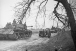 IS-2 tanks of the Soviet 1st Byelorussian Front near the Vistula River in Poland, 1 Mar 1944