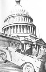 US Senators Meade and Thomas riding a Willy Quad as it climbed steps in front of the US Congress building, Washington, DC, United States, seen on 20 Feb 1941 issue of newspaper Washington Daily News