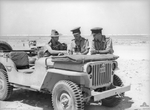 Capt TI Gellibrand and Lt JT Cook with the Australian 24th Infantry Brigade HQ, and Lt ET Pearce use the hood of a Willys MB Jeep to check a map, west of El Alamein, Egypt, 19 Jul 1942