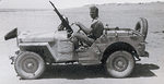 British Long Range Desert Group G1 Patrol commanding officer Captain J. A. L. Timpson in a Jeep, date unknown