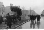 Captured Soviet BM-31-12 Katyusha rocket launcher on Studebaker US6 chassis in Berlin, Germany, 2 May 1945