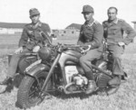 German soldiers with KS 750 motorcycle in Russia, 1943