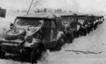 Line of Kübelwagen vehicles parked in the snow, date unknown