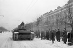 KV-1 tank on a street in Moscow, Russia, 7 Nov 1941