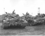 M26 Pershing tanks and crews of US 73rd Heavy Tank Battalion, Busan, Korea, circa mid- to late-1950