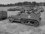 American crews of M2 Half-track vehicles training at Fort Benning, Georgia, United States, Apr-Jun 1942
