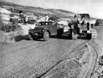Construction of a road along the Syrian border in eastern Hula valley, Israel, 1957-1958; note US-built M3A1 Scout Car