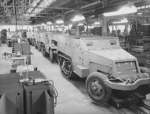 M2 Half-track vehicles under construction, Diebold Safe and Lock Company factory, Canton, Ohio, United States, Dec 1941, photo 3 of 4