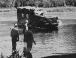 M3 Half-track ambulance vehicle of US 2nd Army fording a river during maneuvers, Tennessee, United States, 1942