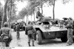 Captured American M8 armored cars, northern France, summer 1944, photo 1 of 2