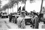 Captured American M8 armored cars, northern France, summer 1944, photo 2 of 2