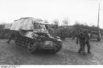 Unloading a Marder I tank destroyer from a train car, Belgium or France, 1943-1944, photo 05 of 10