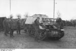 Unloading a Marder I tank destroyer from a train car, Belgium or France, 1943-1944, photo 06 of 10